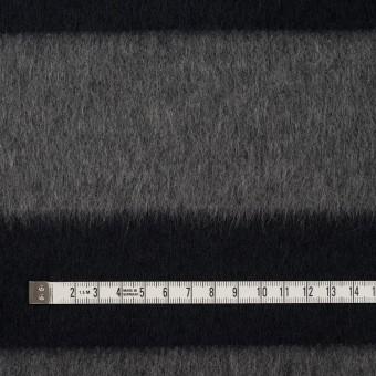 ウール&ポリエステル混×ボーダー(グレー&ダークネイビー)×シャギー サムネイル4
