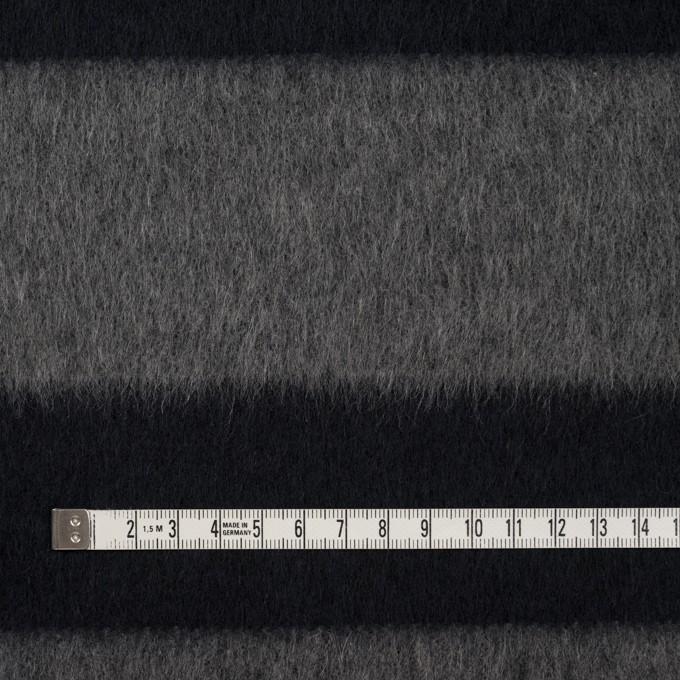 ウール&ポリエステル混×ボーダー(グレー&ダークネイビー)×シャギー イメージ4
