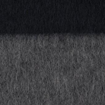 ウール&ポリエステル混×ボーダー(グレー&ダークネイビー)×シャギー サムネイル1