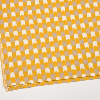 ウール&コットン×幾何学模様(オフホワイト、ベージュ&イエロー)×風通織 サムネイル2