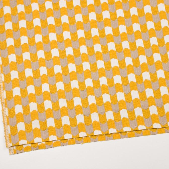 ウール&コットン×幾何学模様(オフホワイト、ベージュ&イエロー)×風通織 イメージ2
