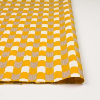ウール&コットン×幾何学模様(オフホワイト、ベージュ&イエロー)×風通織 サムネイル3