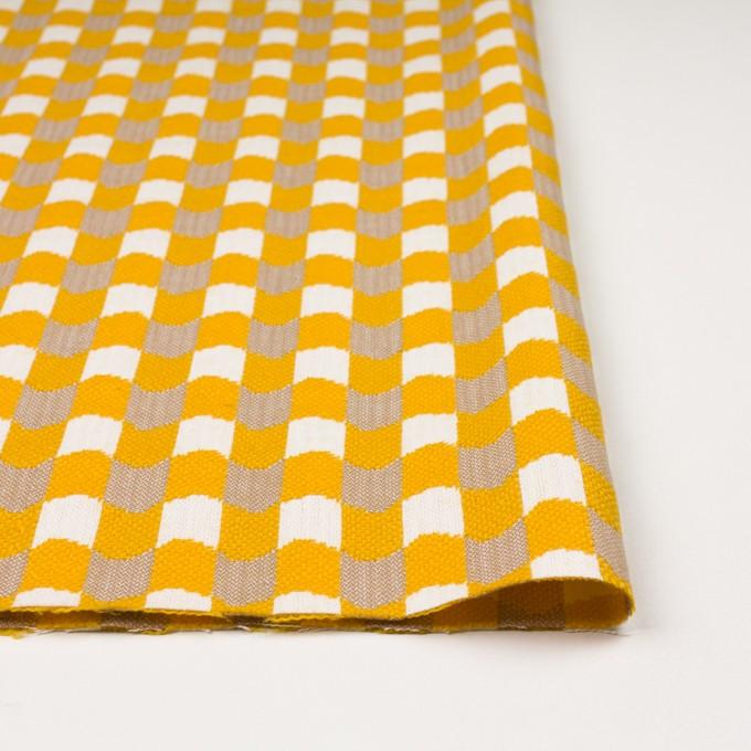 ウール&コットン×幾何学模様(オフホワイト、ベージュ&イエロー)×風通織 イメージ3