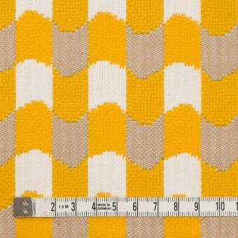 ウール&コットン×幾何学模様(オフホワイト、ベージュ&イエロー)×風通織 サムネイル4