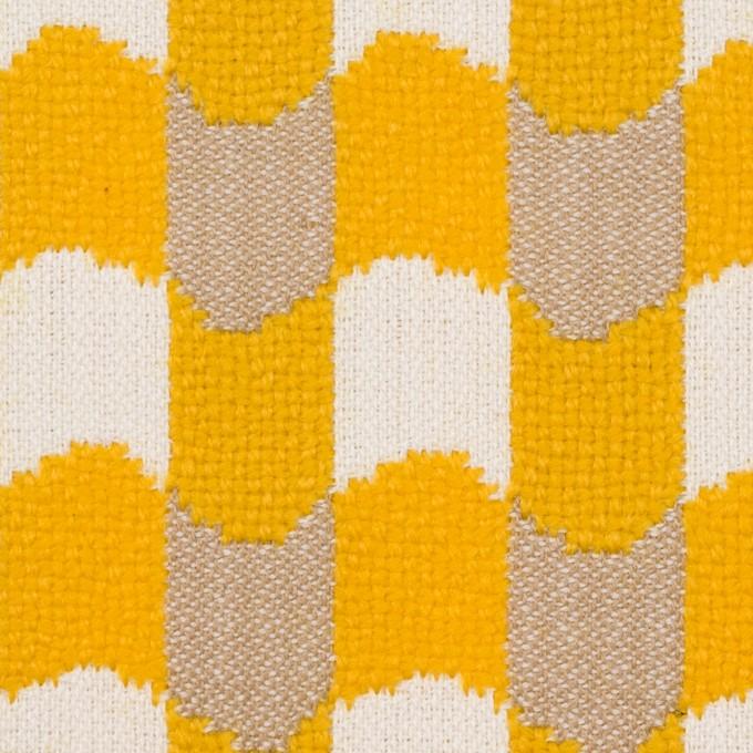 ウール&コットン×幾何学模様(オフホワイト、ベージュ&イエロー)×風通織 イメージ1