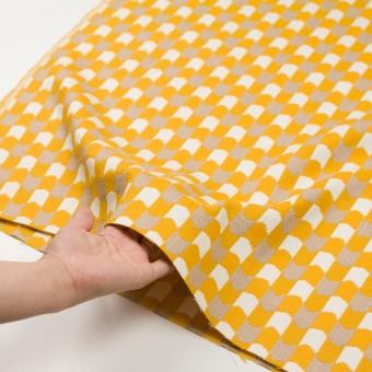 ウール&コットン×幾何学模様(オフホワイト、ベージュ&イエロー)×風通織 サムネイル5