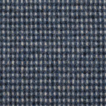 ウール&ポリエステル混×チェック(ブルーミックス)×ツイード