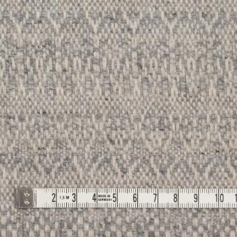 ウール&ポリエステル混×幾何学模様(グレイッシュベージュ&ブルー)×ツイード サムネイル4