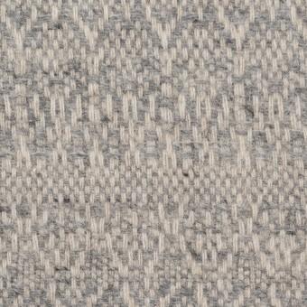 ウール&ポリエステル混×幾何学模様(グレイッシュベージュ&ブルー)×ツイード