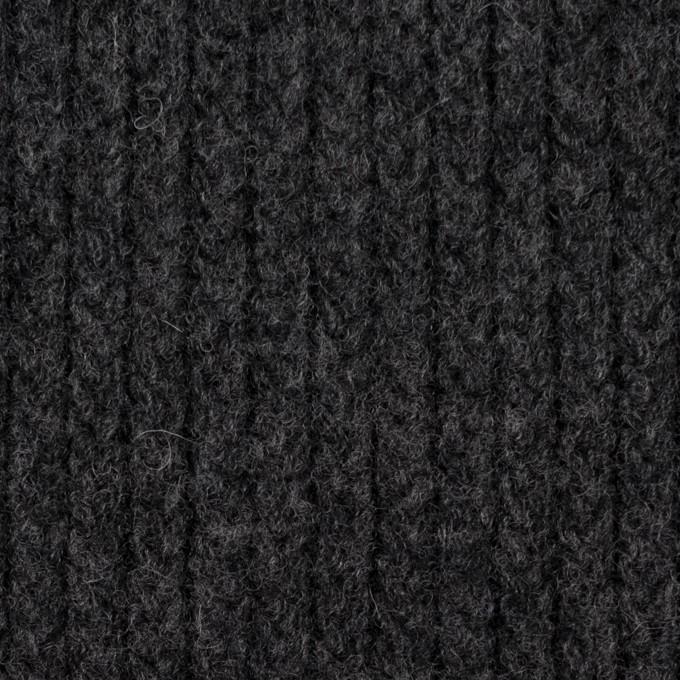 ウール&ナイロン混×無地(チャコールグレー)×バルキーニット_全4色 イメージ1