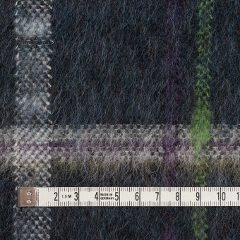 ポリエステル&モヘア混×チェック(シャドウブルー)×シャギーニット_全2色 サムネイル4