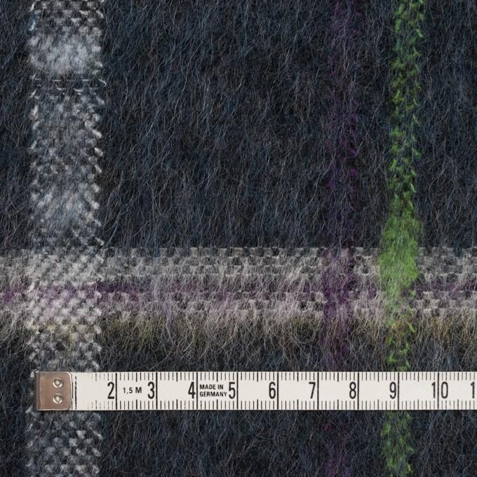 ポリエステル&モヘア混×チェック(シャドウブルー)×シャギーニット_全2色 イメージ4