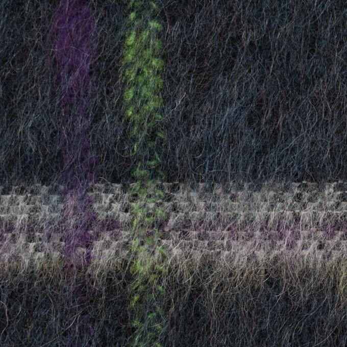 ポリエステル&モヘア混×チェック(シャドウブルー)×シャギーニット_全2色 イメージ1