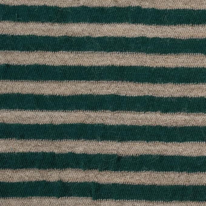 ウール&コットン×ボーダー(モスグリーン&サンドベージュ)×天竺ニット_全5色 イメージ1