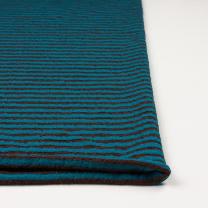 ウール&コットン×ボーダー(マロン&エメラルドブルー)×天竺ニット_全5色 イメージ3