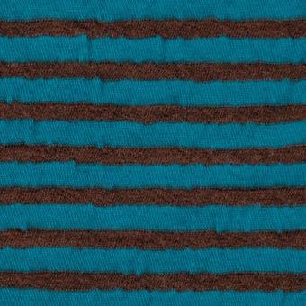ウール&コットン×ボーダー(マロン&エメラルドブルー)×天竺ニット_全5色 サムネイル1