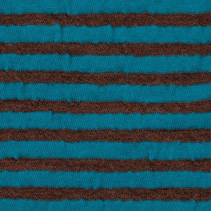 ウール&コットン×ボーダー(マロン&エメラルドブルー)×天竺ニット_全5色 イメージ1