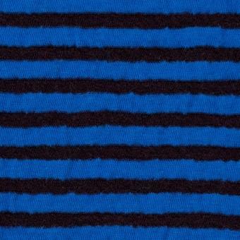 ウール&コットン×ボーダー(ダークブラウン&マリンブルー)×天竺ニット_全5色 サムネイル1