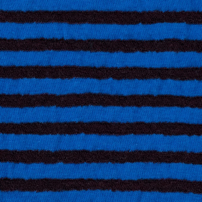 ウール&コットン×ボーダー(ダークブラウン&マリンブルー)×天竺ニット_全5色 イメージ1