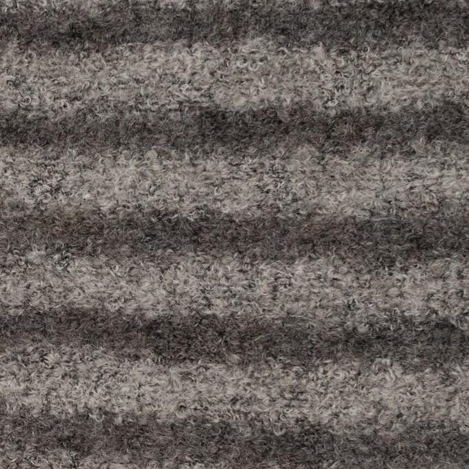 ウール&アクリル混×ボーダー(グレー&チャコール)×ループニット イメージ1