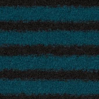 ウール&アクリル混×ボーダー(ターコイズ&ブラック)×ループニット
