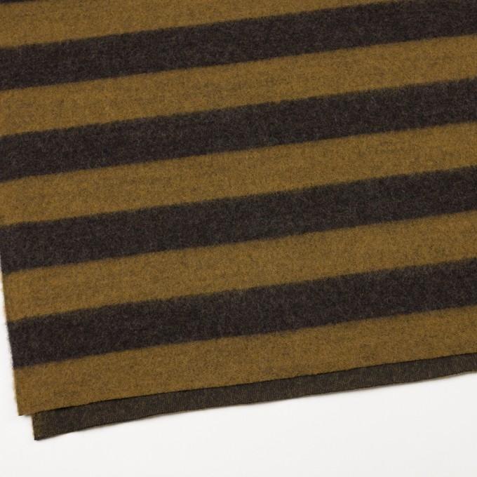 ポリエステル&ウール×ボーダー(マスタード&ブラウン)×メッシュニット イメージ2