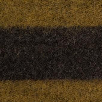 ポリエステル&ウール×ボーダー(マスタード&ブラウン)×メッシュニット サムネイル1