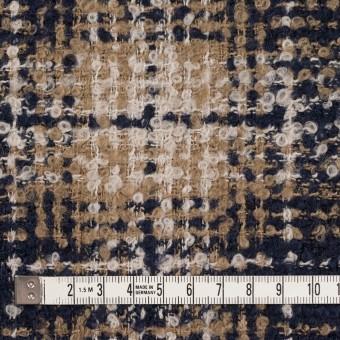 ウール&アクリル混×チェック(クリーム、ベージュ&ネイビー)×ファンシーツイード サムネイル4