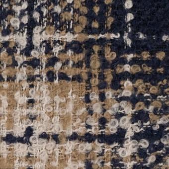 ウール&アクリル混×チェック(クリーム、ベージュ&ネイビー)×ファンシーツイード