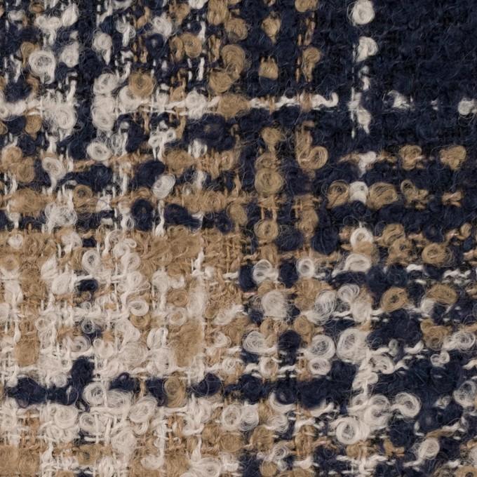 ウール&アクリル混×チェック(クリーム、ベージュ&ネイビー)×ファンシーツイード イメージ1