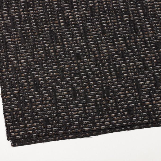 ポリエステル&レーヨン混×幾何学模様(モカ&ブラック)×ジャガード イメージ2