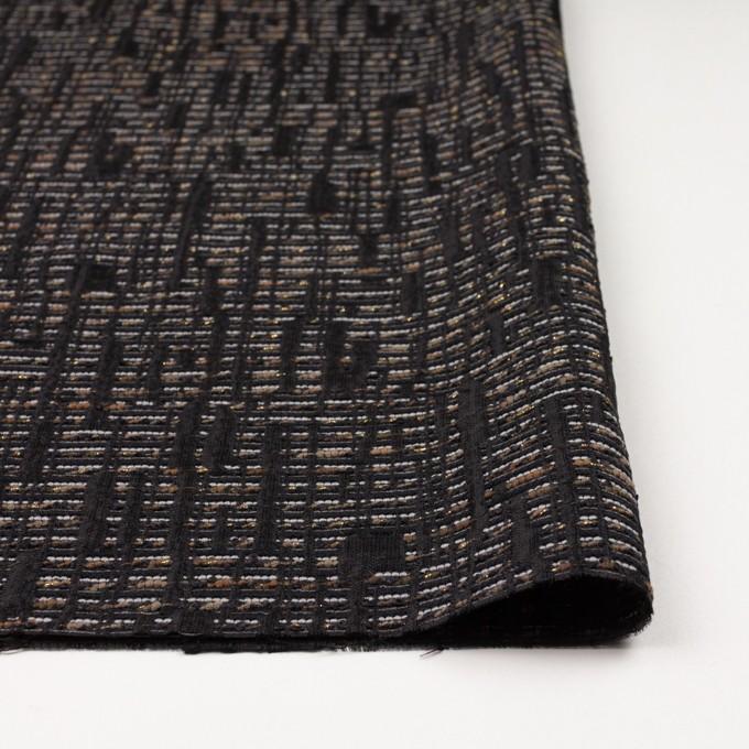 ポリエステル&レーヨン混×幾何学模様(モカ&ブラック)×ジャガード イメージ3