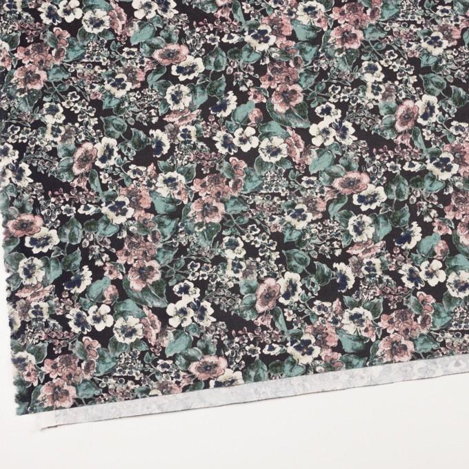 コットン&ポリウレタン×フラワー(グレイッシュピンク&ブラック)×細コーデュロイ・ストレッチ イメージ2