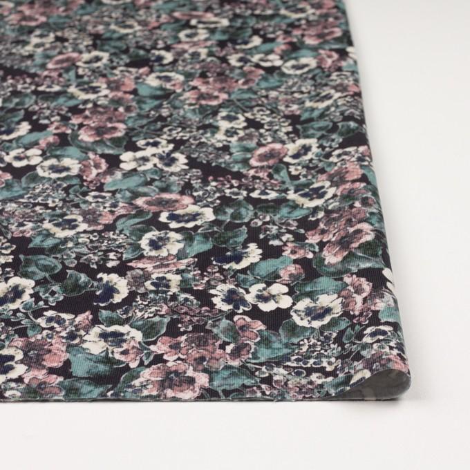 コットン&ポリウレタン×フラワー(グレイッシュピンク&ブラック)×細コーデュロイ・ストレッチ イメージ3