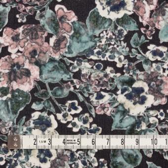 コットン&ポリウレタン×フラワー(グレイッシュピンク&ブラック)×細コーデュロイ・ストレッチ サムネイル4