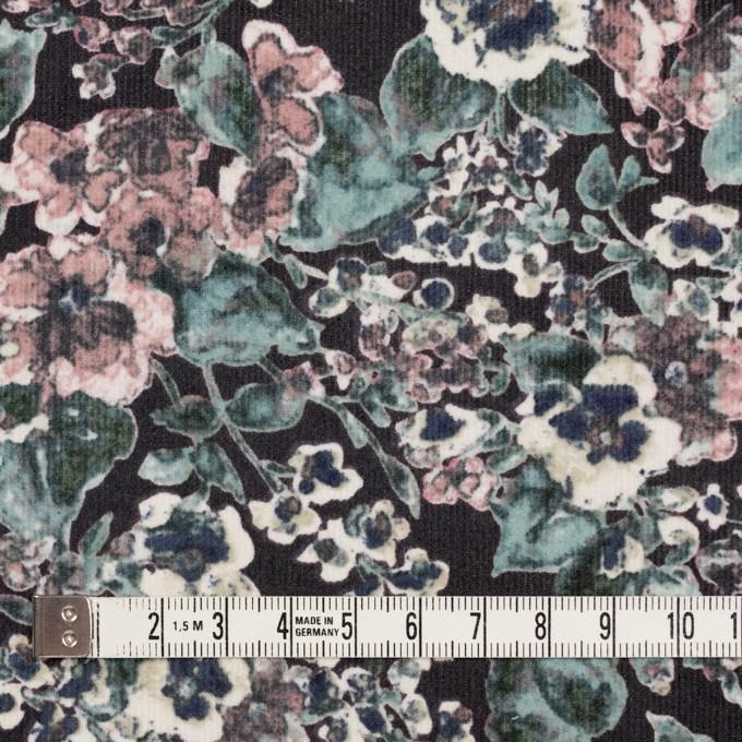 コットン&ポリウレタン×フラワー(グレイッシュピンク&ブラック)×細コーデュロイ・ストレッチ イメージ4