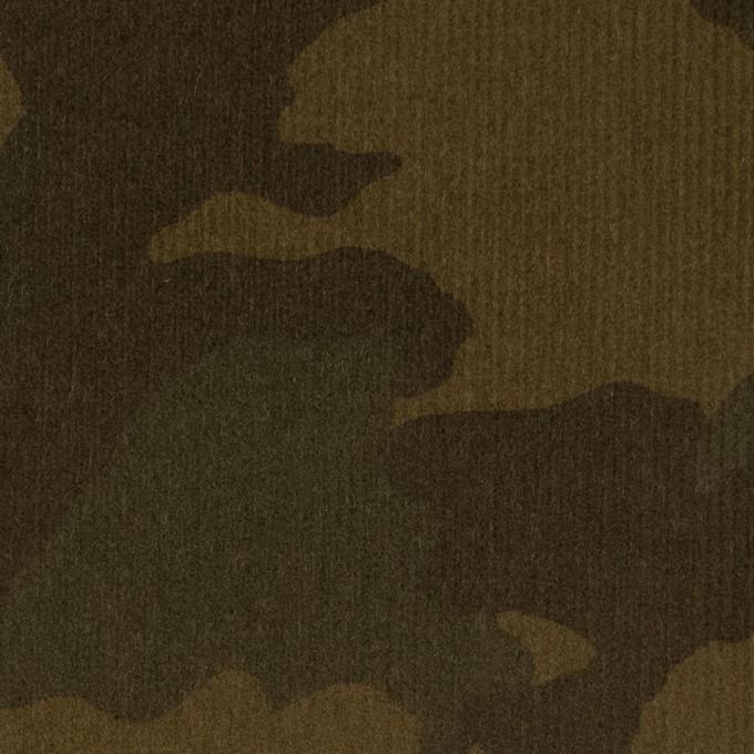 コットン&ポリウレタン×迷彩(カーキ)×細コーデュロイ・ストレッチ イメージ1