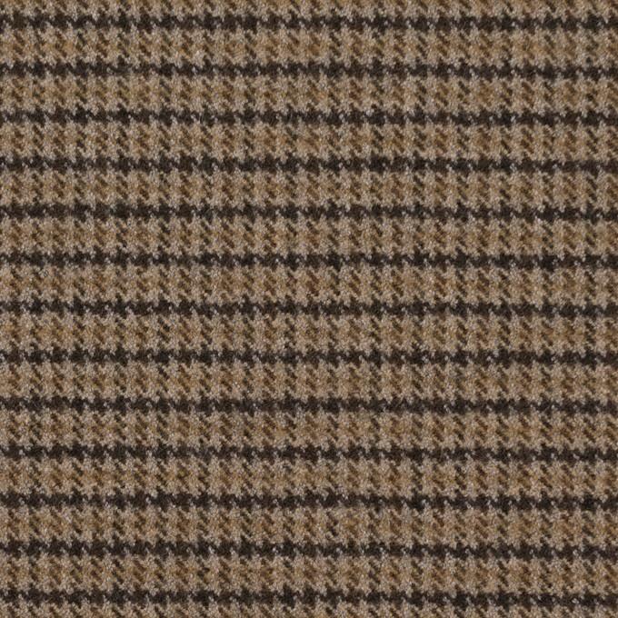 ポリエステル&レーヨン混×チェック(モカ)×サージストレッチ イメージ1