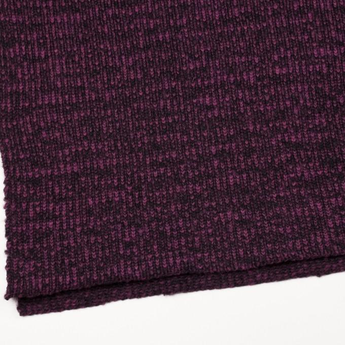 ウール&ポリエステル×ミックス(チリアンパープル&ブラック)×バルキーニット イメージ2