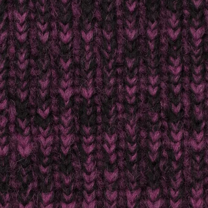 ウール&ポリエステル×ミックス(チリアンパープル&ブラック)×バルキーニット イメージ1