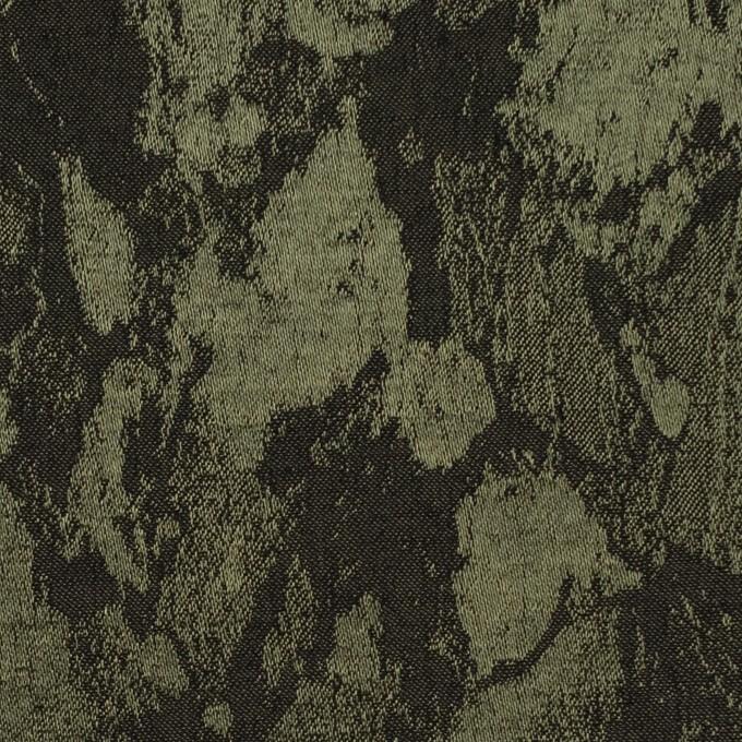 レーヨン&ウール混×幾何学模様(カーキグリーン&チャコール)×ジャガード イメージ1