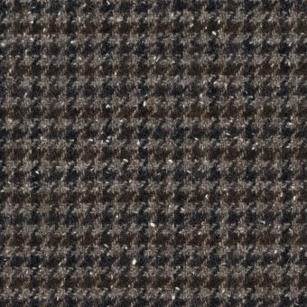 ウール&ナイロン混×チェック(ブラウン&ネイビー)×千鳥格子ストレッチ_全2色 サムネイル1