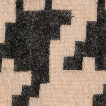 アクリル&ナイロン混×千鳥格子(ベージュ&ブラック)×メッシュニット_フロッキー サムネイル1