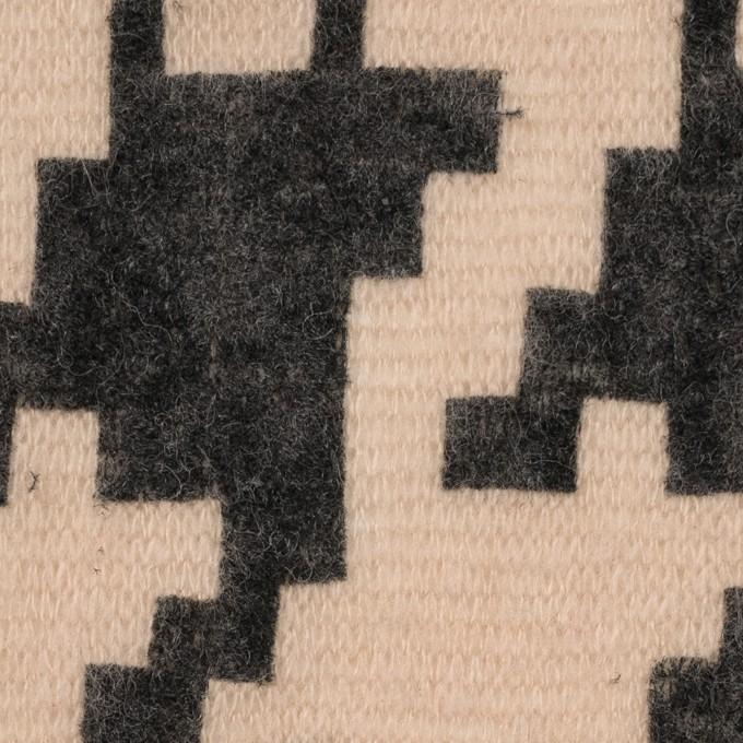 アクリル&ナイロン混×千鳥格子(ベージュ&ブラック)×メッシュニット_フロッキー イメージ1
