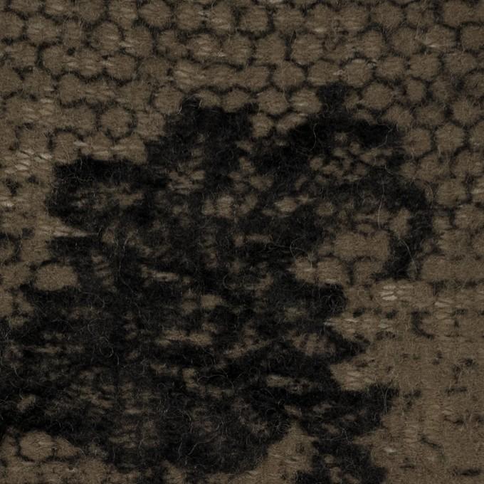 アクリル&ナイロン混×レース(オリーブ&ブラック)×メッシュニット_フロッキー_全2色 イメージ1