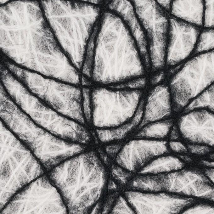 アクリル&ウール混×ライン(オフホワイト&ブラック)×不織布 イメージ1