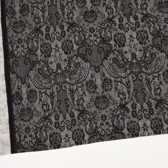 アクリル&ウール混×フラワー(ライトグレー&ブラック)×メッシュニット&ラッセルレース イメージ2