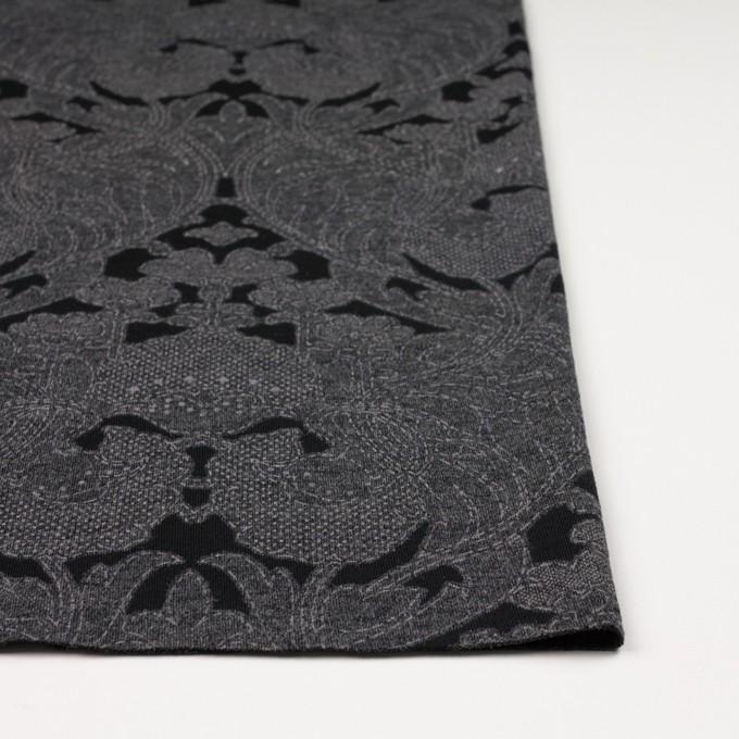 ポリエステル&レーヨン混×フラワー(チャコールグレー&ブラック)×ジャガード天竺ニット イメージ3
