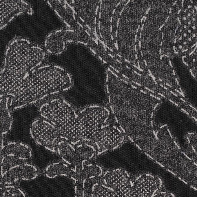 ポリエステル&レーヨン混×フラワー(チャコールグレー&ブラック)×ジャガード天竺ニット イメージ1