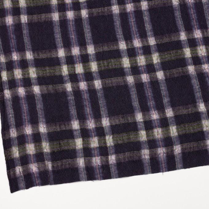 ウール&ポリエステル×チェック(ダークパープル)×ガーゼ_全3色 イメージ2
